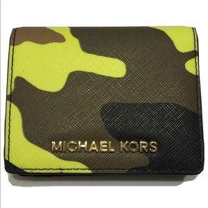 Acid Yellow Camouflage Michael Kors Wallet
